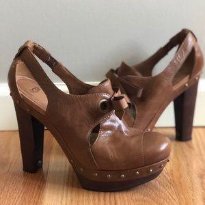 UGG Celestina studded brown platform leather heels